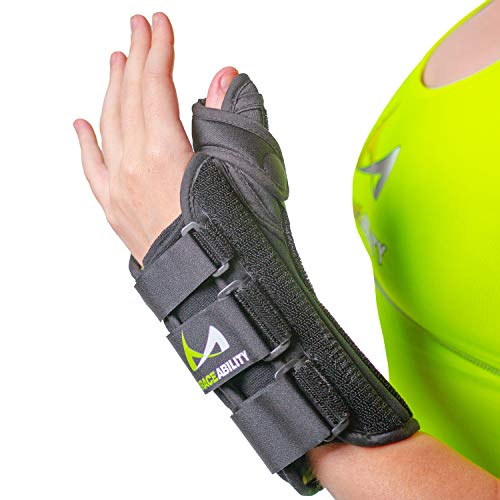 (BraceAbility Thumb & Wrist Spica Splint | De Quervain's Tenosynovitis Long Stabilizer Brace for Tendonitis, Arthritis & Sprains Forearm Support Cast (Medium - Right Hand))