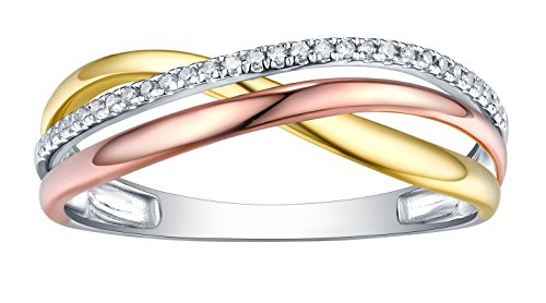 (Prism Jewel Natural G-H/I1 Round Diamond Criss Cross Ring, 18k Tri Color Gold Size 7.5)