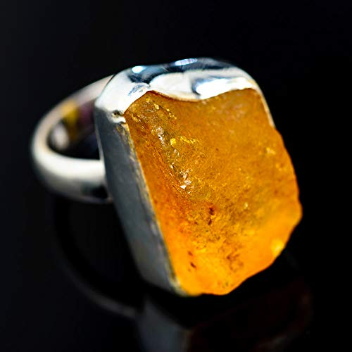 Rough Rough Amber Ring Size 7 (925 Sterling Silver) - Handmade Boho Vintage Jewelry RING945725 from Ana Silver