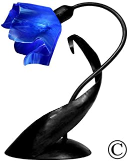 product image for Jezebel Radiance Lazy Daisy Lamp. Hardware: Black. Glass: Cobalt Blue, Flame Style