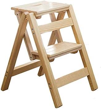 STOOL Sencillo Multifuncional Plegable Heces, Escalera de Madera Paso Segundo Paso Escalera Plegable Corredor Cocina Espiga de Escalera Inicio de Almacenamiento en Rack Regalo,Beige,38 × 42 × 52Cm: Amazon.es: Bricolaje y herramientas