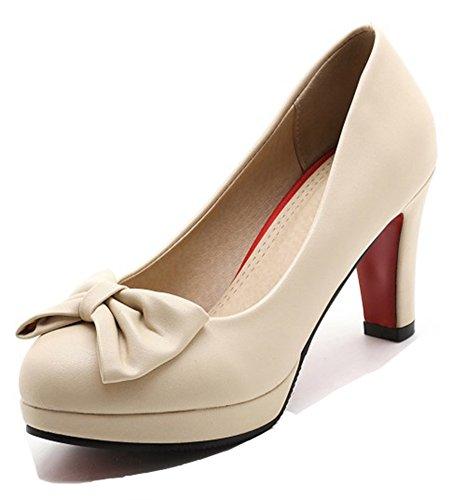 Aisun Féminin Trendy Habillé Coupe Basse Slip Sur Bout Rond Chunky Talons Hauts Plateforme Pompes Chaussures Avec Des Arcs Beige