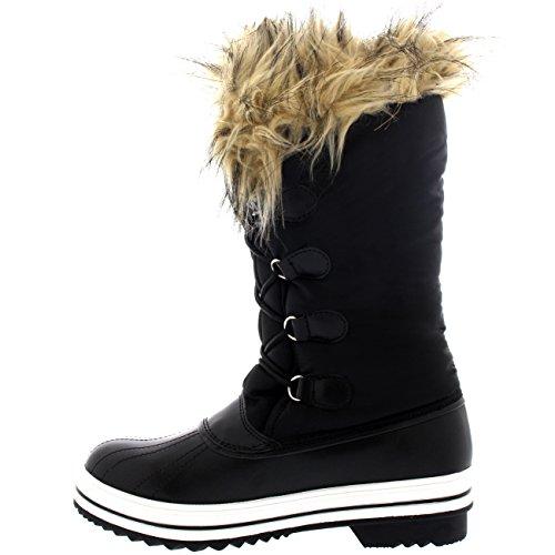 Polar Products Damen Nylon warme Ente Regen Schnee im Freien hohe Winter Regen Stiefel Schwarz