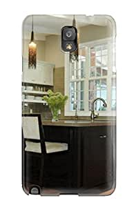Neutral Kitchen With Large Black Island And Beaded Pendant Lighting Feeling Galaxy Note 3 On Your Style Birthday Gift Cover Case