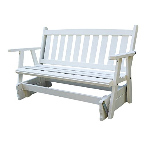 Porchgate Amish Made Mission White Porch Glider (5 Foot) (White Bench Glider)
