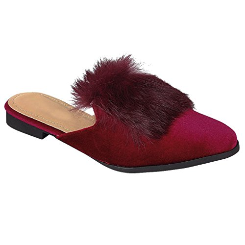 Oxford Fur Velvet On Slide Burgundy Loafer Slip Shoe Women Sandal Mule Trim SNJ Flat anxpRp