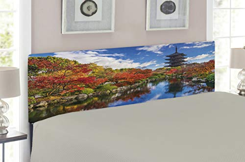 (Lunarable Japanese Headboard for King Size Bed, to-ji Pagoda in Kyoto Japan During The Fall Season Colorful Trees Foliage Scenery, Upholstered Decorative Metal Headboard with Memory Foam, Multicolor )