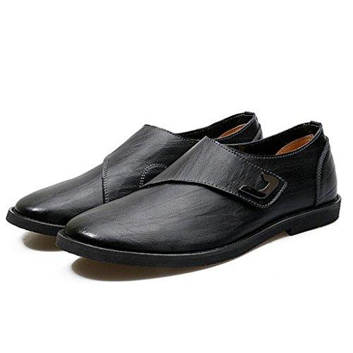 GAOLIXIA Men's Business Leather Shoes Chaussures habillées Chaussures de mariage Work Carrière Chaussures British Style Flat Chaussures occasionnelles Noir