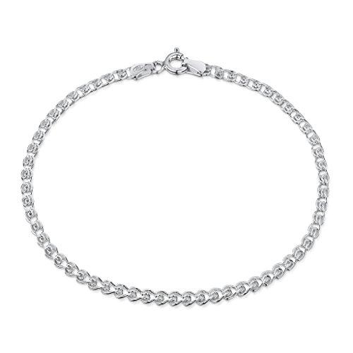 "Amberta 925 Sterling Silver 2.3 mm Heart Chain Bracelet Length 7"" inch / 18 cm (7)"