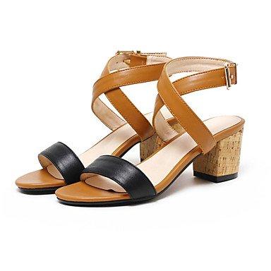 LvYuan Tacón Robusto-Confort Innovador Zapatos del club-Sandalias-Vestido Informal-Semicuero-Marrón Blanco White