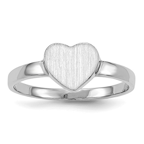 Roy Rose Jewelry Open Back Signet Ring Heart Shape Custom Personailzed with Free Engraving Available of Initials ~ Size 6 in Solid 14K White Gold ()