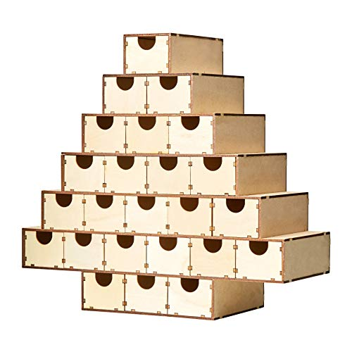 Juvale Wood Advent Calendar - Unfinished Christmas Tree Advent Calendar, Countdown Calendar, for DIY, Art Projects, Holiday Decoration, Gift, 24 Drawer Boxes, 13 x 14.2 x 5.5 Inches