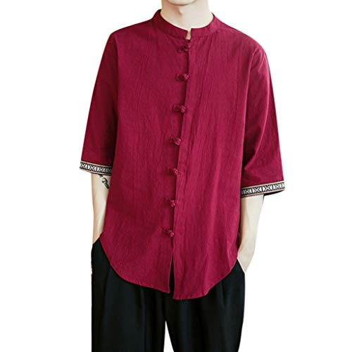 Men's Spring and Summer Chinese Wind Leisure Flax Cotton Short-Sleeved Tops Red