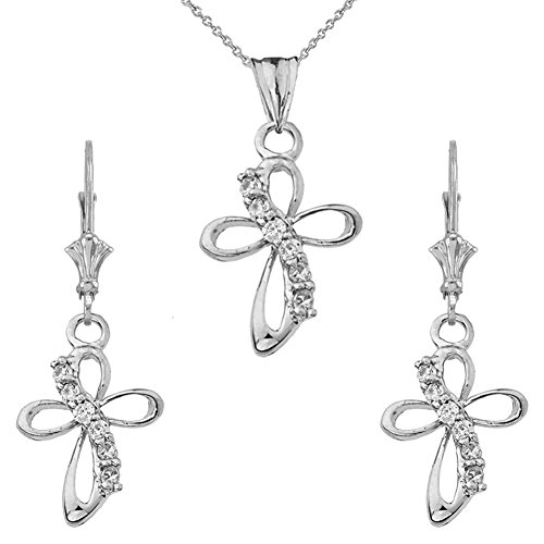 Dainty Sterling Silver CZ Open Curvy Cross Pendant Necklace and Earrings Set, 16