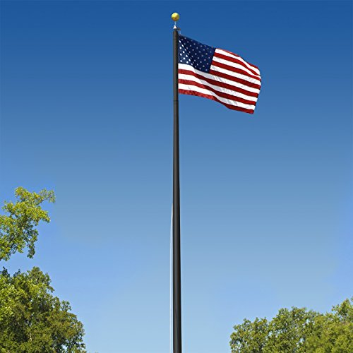 - Super Tough Commercial Grade Sectional 20ft. Flagpole - Black Anodized - US Made