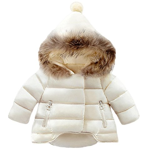 Lanbaosi Baby Girls Cute Fur Hoodie Puffer Jacket Warm Snow Coat Outerwear, White, 5 by LANBAOSI (Image #1)