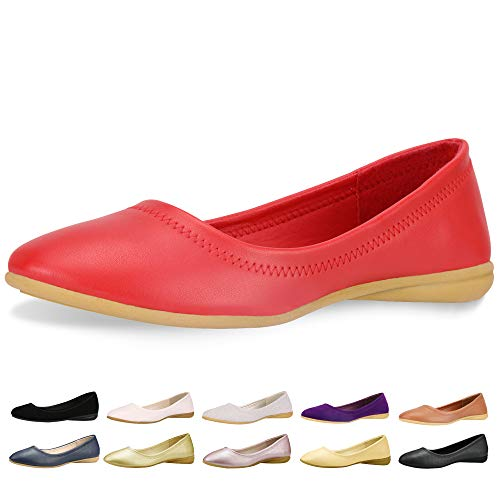 CINAK Flats Shoes Women- Slip-on Ballet Comfort Walking Classic Round Toe Shoes (7-7.5 B(M) US/ CN39 / 9.5'', Red)