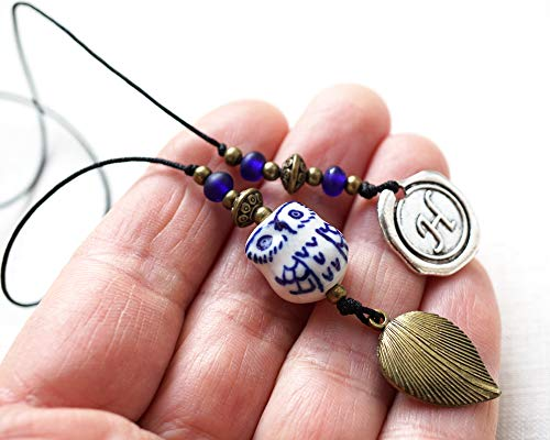 Handmade Beaded Bookmark Blue White Ceramic Owl Artisan Bead Custom Initial Personalize Wax Seal Letter Metal Leaf Unique Gift for Men Women Book Thong String Bookcase Decor Crafted by KapKaDesign