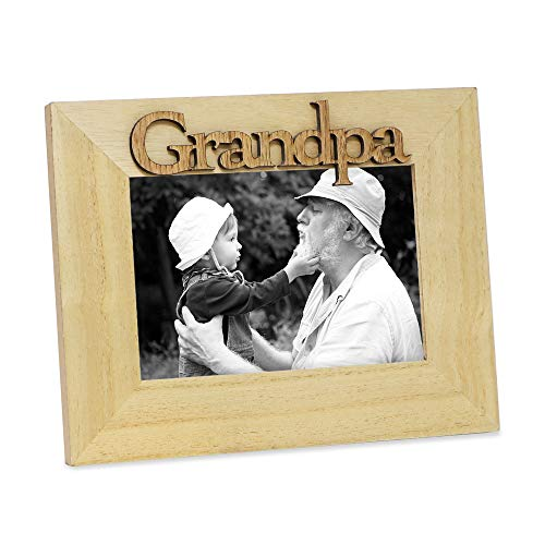 Isaac Jacobs Natural Wood Sentiments Grandpa Picture Frame, 4x6 inch, Photo Gift for Grandfather, Papa, Family, Display on Tabletop, Desk (Natural) -