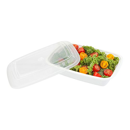 24-OZ Asporto Microwavable To-Go Container - PP White Rectangular Food Container with Clear Plastic Lid: Perfect for Catering Events and Restaurant Takeout – Disposable and Eco-Friendly – 100-CT by Restaurantware