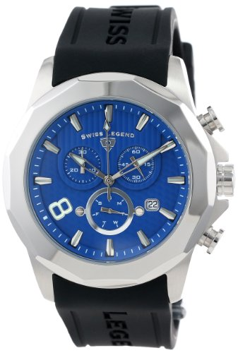 Swiss Legend Men's 10042-03 Monte Carlo Chronograph Blue Textured Dial Black Silicone Watch