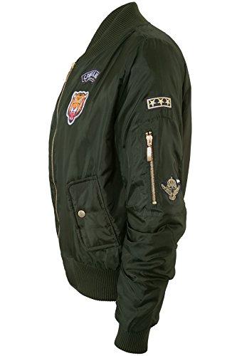 De Con Tienda Sapphire Satén Mujer Bomber Vintage Chaqueta Acolchado Estilo Cremallera Caqui Forrado Insignia ZHq545nR
