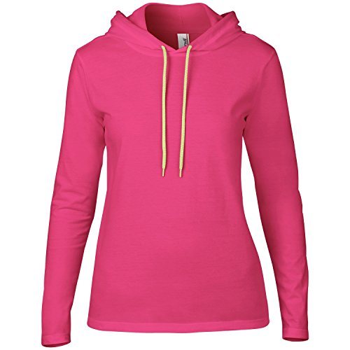 Anvil Anvil Woman CRS Fitted Fashion LS Hooded Tee-Camiseta Mujer Rose/Jaune fluo