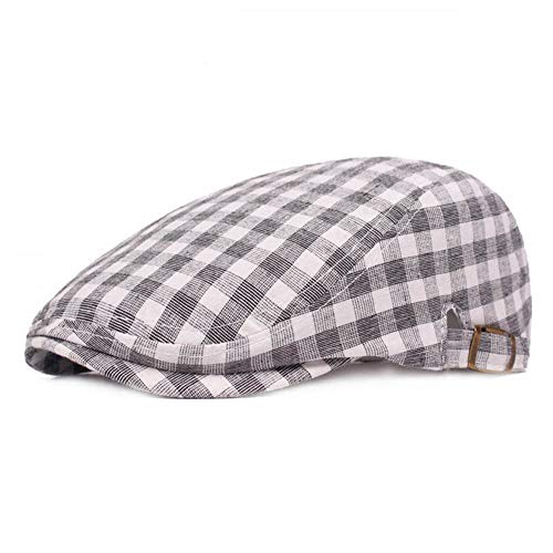 (Idopy Colored Plaid Longshoreman`s Flat Cap Irish Ivy Newsboy Hat (X1403-Grey))