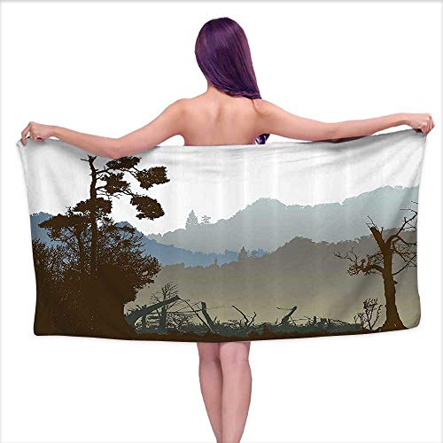 smallbeeflyyyyy Bath Towel wrap for Women Mountain,Panoramic Landscape of Dark Green Mountains Trees and Plants,White Army Green Sage Green,W31 xL63 for Men red
