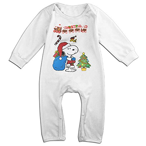 Cotton Baby Long Sleeve Onesies Toddler Bodysuit White Christmas Snoopy Baby (Jonbenet Ramsey Halloween)