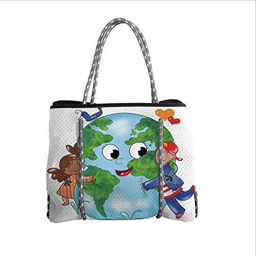 Bean Hugging Bag (iPrint Neoprene Multipurpose Beach Bag Tote Bags,Earth,Two Cute Kids Hugging Happy Planet Earth Bird and Hearts Embracing in Cartoon Style Decorative,Multicolor,Women Casual Handbag Tote Bags)
