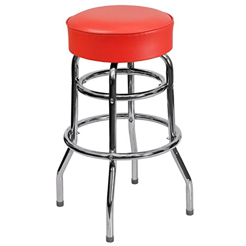 Flash Furniture Double Ring Chrome Barstool with Red Seat - Backless Chrome Swivel Bar Stool