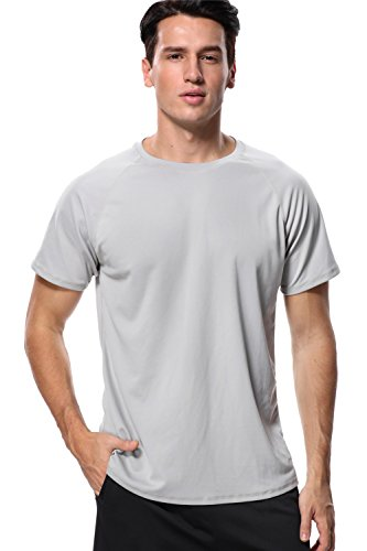 anfilia Mens UV Rash Guard Sun Protective Surfing Tee Shirt Sport Tops Lignt Gray XXL (Uv Shirt Loose)