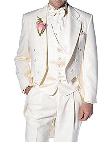 (Botong Ivory Long Jacket Tailcoat Wedding Suit 3 Pieces Groom Tuxedos Ivory 42 Chest / 36 Waist)