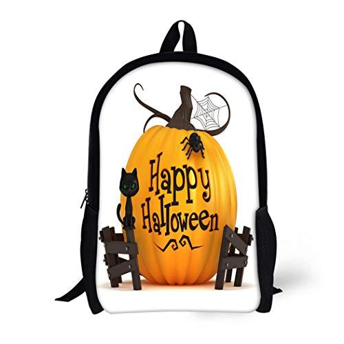 Pinbeam Backpack Travel Daypack Orange Happy 3D Render of Halloween Pumpkin Holiday Waterproof School Bag