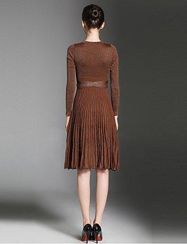 One Vestido La De Vestido Partido Un Brown Brown De Fiesta Fiesta Mujer JIALELE Size Mujer De Línea SvROOU