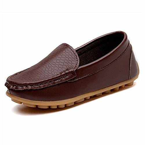 RVROVIC Kids Girls Boys Slip-on Loafers Oxford PU Leather Flats Shoes(Toddler/Little Kid) (8.5 M Toddler/CN Size 26/16cm, Brown) by RVROVIC