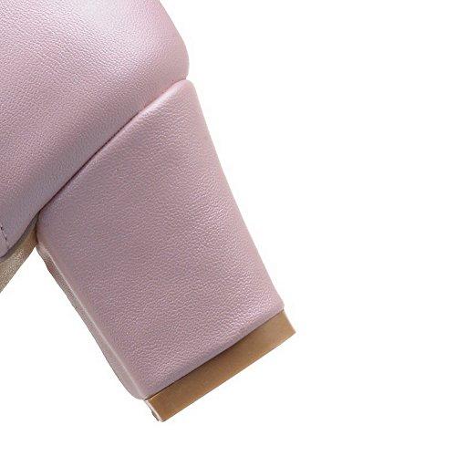 AllhqFashion Mujer Sólido Material Suave Tacón Alto Cordones Puntera Cerrada Puntera Redonda De Salón, Rosa, 40
