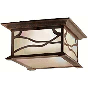 this item kichler lighting 9838dco morris 2light flush mount outdoor ceiling light distressed copper finish with iridized seedy glass - Outdoor Ceiling Lights