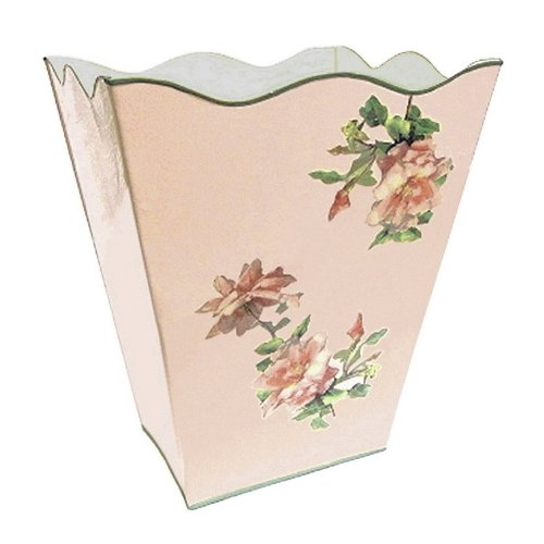 Vintage Pink Roses Wastebasket, Trash Can, Waste Can, Trash Bin ~ E16 Shabby Chic Enamel Trash Can with Romantic Antique Roses (Antique White Trash Can)
