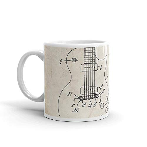 rangerpolocon Gibson Les Paul Guitar US Patent Art 1955 11Oz Ceramic Coffee Mugs Cup Tea C-shape Handle