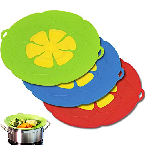 Onown 3 Pieces Multi-Purpose Spiil Stopper Lid Cover Silicone Boil Over Safeguard Over-Boiling Anti Spiill Lid Cover Pot Pan Lid Multi-Function Cooking Kitchen Tool