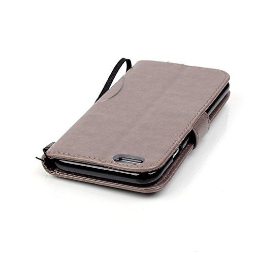 Single Side Motif gaufré Flower Case en cuir PU, résine Case Rhinestone livre design Strap Case Pliable Wallet Support Case pour Apple iPhone 6S 4,7 pouces ( Color : Gray )