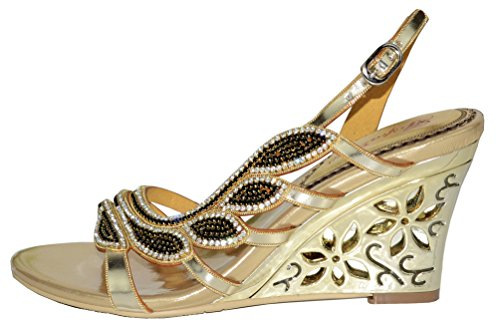 Summer Women's Shoes a L001 Strap Roman Evening Heels Sandals Salabobo High Gold Rhinestone f5qRSOOw