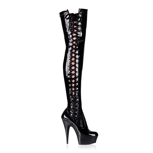 Pleaser Delight-3050 - Sexy Plateau High Heels Overknee Stiefel 36-45