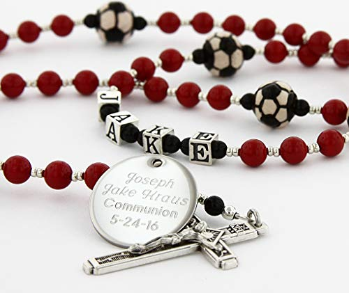 (Soccer First Holy Communion Personalized Rosary Red Beads)
