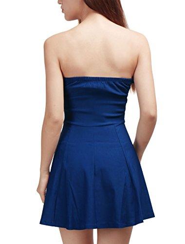 Allegra K Mujer Vestido Sin Tirantes con Cremallera Frontal A Line Azul