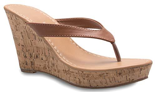 OLIVIA K Women's Platform High Heel Wedges Sandals - Slippers Flip Flops - Adorable, Comfortable, Sexy