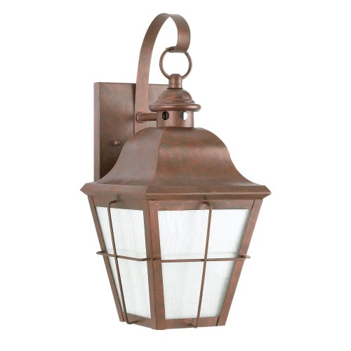 Sea Gull Lighting 8462D-44 Chatham One-Light Outdoor Wall Lantern with White Aluminum Panels and Clear Seeded Glass Panels, Weathered Copper Finish
