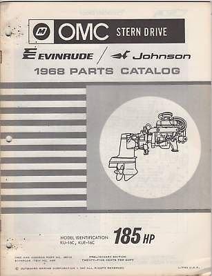 1968 OMC EVINRUDE JOHNSON STERN DRIVE 185HP PARTS MANUAL P/N - Stern Omc 1968 Drive